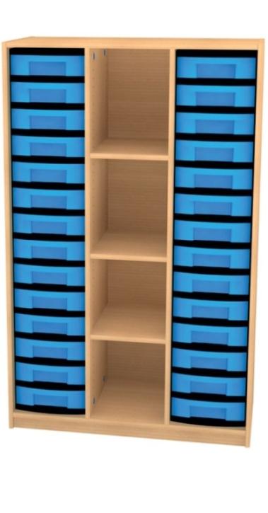 Breites Regal mit 28 Schüben, B/H/T: 98 x 152 x 50 cm