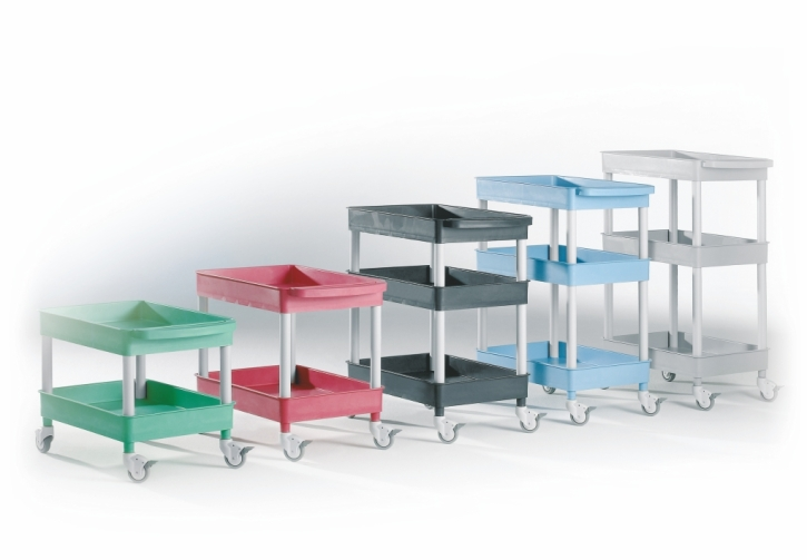 """Transport- und Aufbewahrungswagen """"Clever-Carts"""" mit 2 oder 3 Wannen (Größe & Farbe wählen)"""