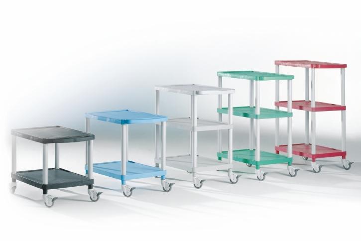 """Transport- und Aufbewahrungswagen """"Clever-Carts"""" mit 2 oder 3 Tabletts (Größe & Farbe wählen)"""