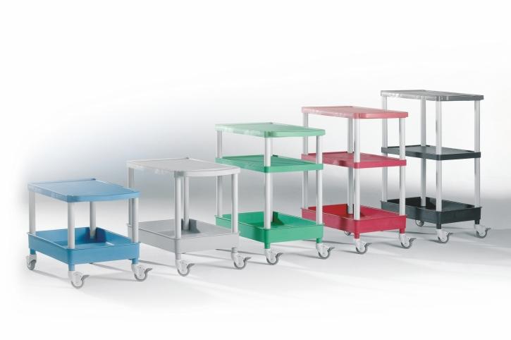 """Transport- und Aufbewahrungswagen """"Clever-Carts"""" mit 1 oder 2 Tabletts und Wanne (Größe & Farbe wählen)"""