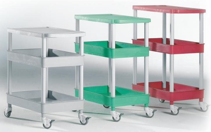 """Transport- und Aufbewahrungswagen """"Clever-Carts"""" mit 1 Tablett und 2 Wannen (Größe & Farbe wählen)"""
