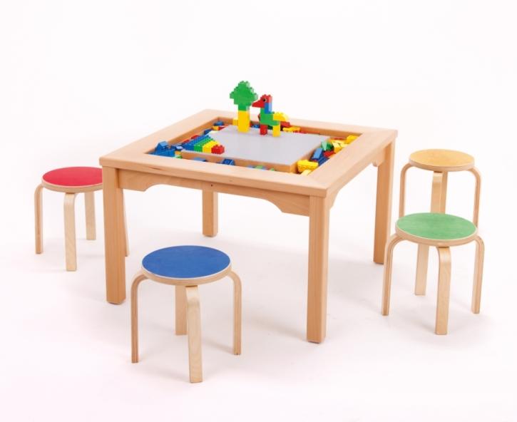Spieltisch für Lego und Duplo mit 4 bunten Hockern