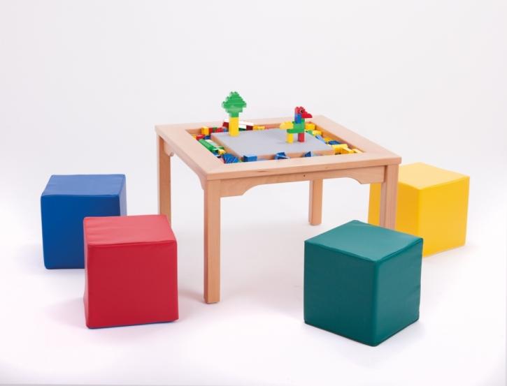 Spieltisch für Lego und Duplo mit 4 farbigen Schaumstoffwürfeln