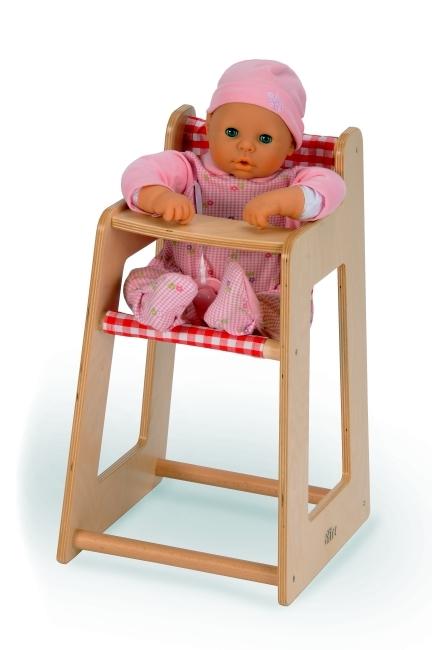 Puppenhochstuhl aus Holz mit Stoffhänger
