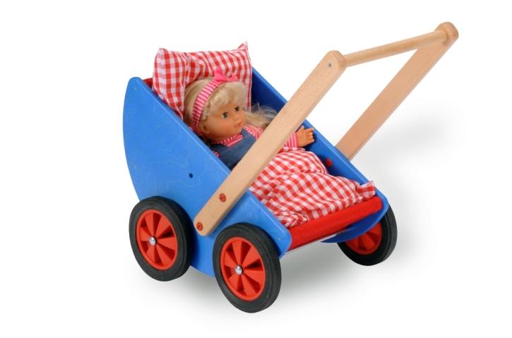Puppenwagen aus Holz BLAU, inkl Kissen und Decke