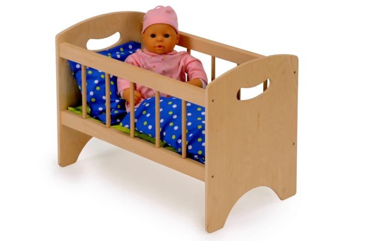 Puppenbett, inkl Kissen, Decke und Matratze