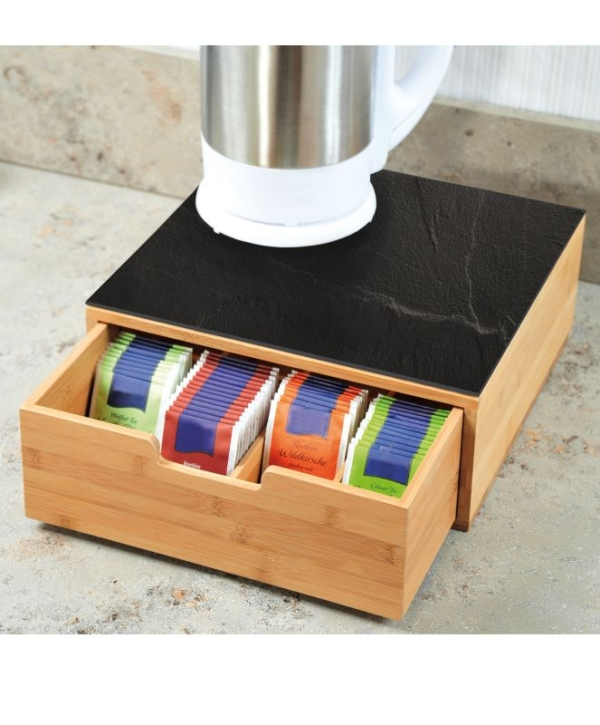 Teebox mit Schublade, B/T/H: 30×31×10 cm