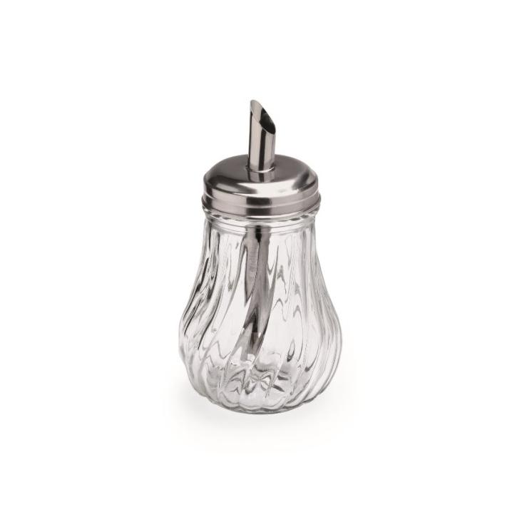 Zuckerdosierer aus Glas, 0,26 Liter, Höhe 14 cm, Oberteil Edelstahl 18/10