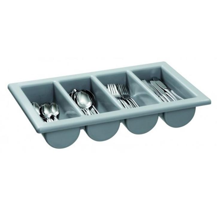 Besteckkasten mit 4 Mulden, grauer Kunststoff, 53 x 32,5 cm (=GN 1/1), Höhe 10 cm