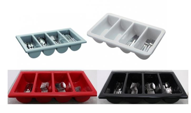 Besteckkasten mit 4 Mulden, Kunststoff, 53 x 32,5 cm (=GN 1/1), Höhe 10 cm (Farbe wählen)