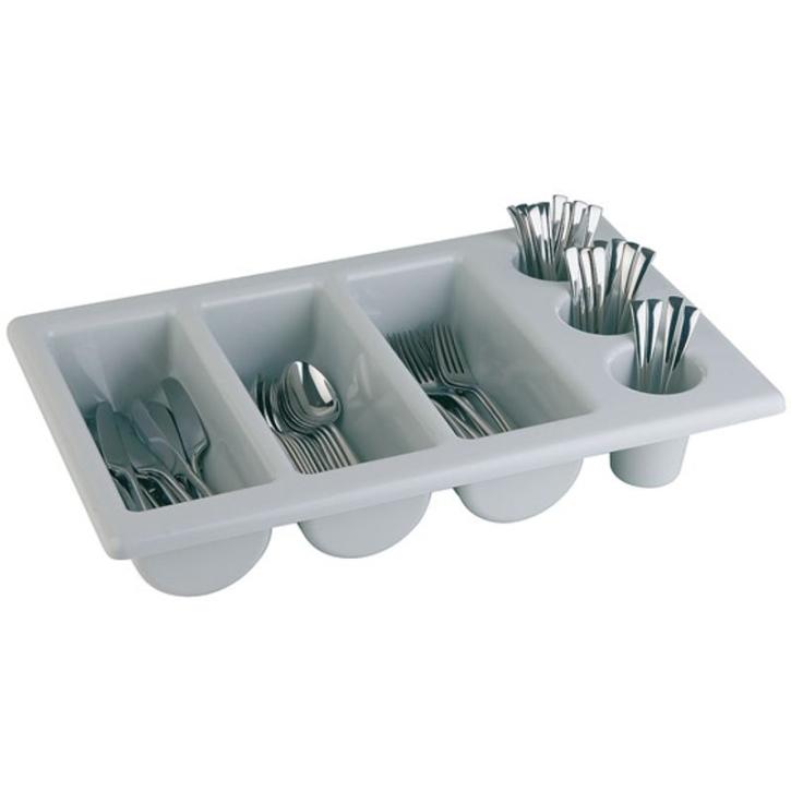 Besteckkasten mit 6 Mulden, grauer Kunststoff, 53 x 32,5 cm (=GN 1/1), Höhe 10 cm