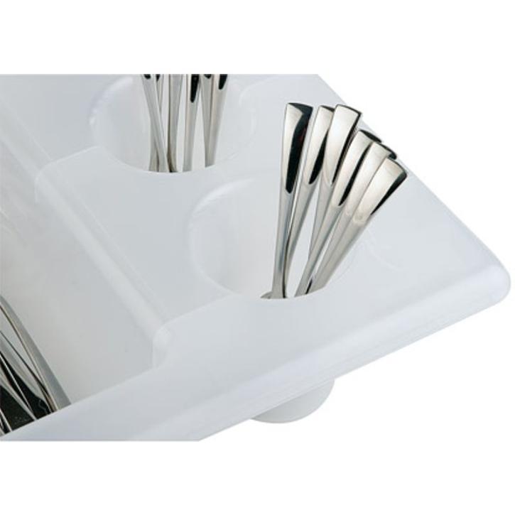 Besteckkasten mit 6 Mulden, weißer Kunststoff, 53 x 32,5 cm (=GN 1/1), Höhe 10 cm