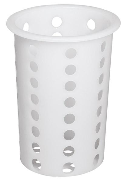 Besteckköcher GELOCHT, weißer Kunststoff, Ø 10 x H 13,5 cm