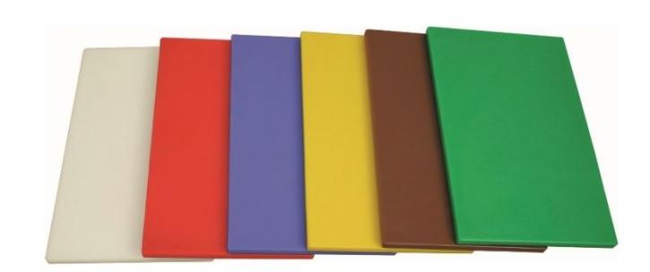 Schneidebrett HACCP, 40x25x1,2 cm, OHNE Gummifüßen (Farbe wählen)