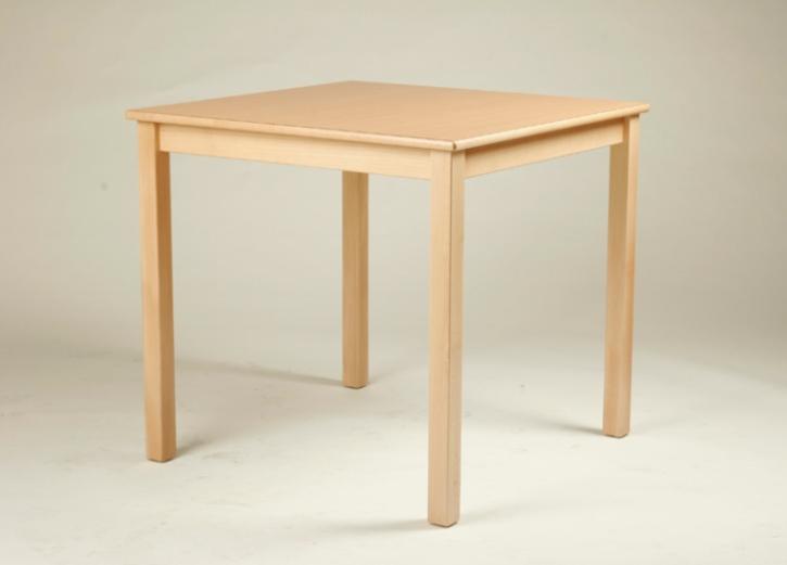 Quadrat-Tisch 60 x 60 cm, Tischplatte aus HPL Buche natur (Tischhöhe 42 - 76 cm)