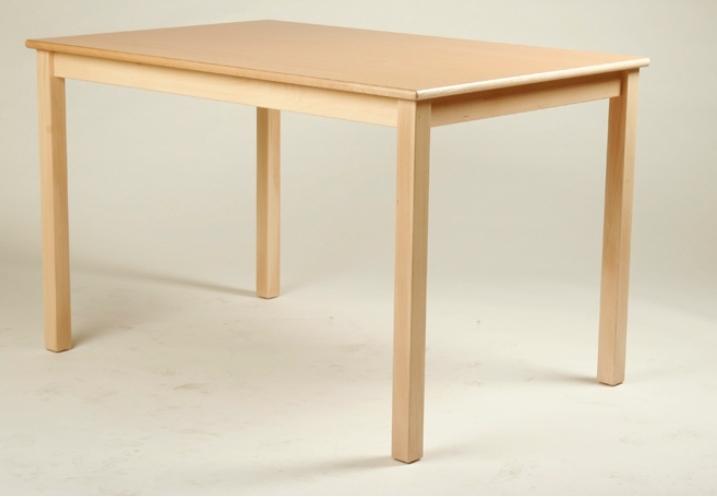 Rechteck-Tisch 120 x 80 cm, Tischplatte aus HPL Buche natur (Tischhöhe 42 - 76 cm)