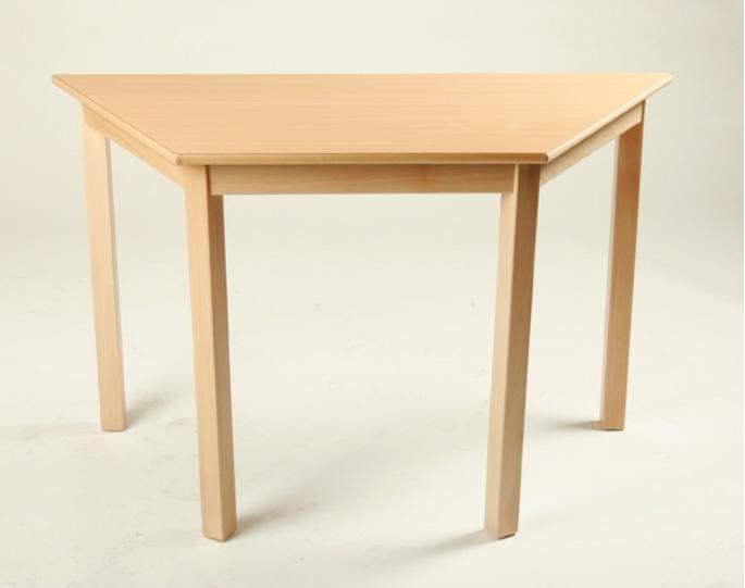 Trapez-Tisch 120 x 60 x 60 cm, Tischplatte aus HPL Buche natur (Tischhöhe 42 - 76 cm)