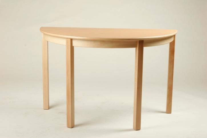 Halbrund-Tisch 120 x 60, Tischplatte aus HPL Buche natur (Tischhöhe 42 - 76 cm)