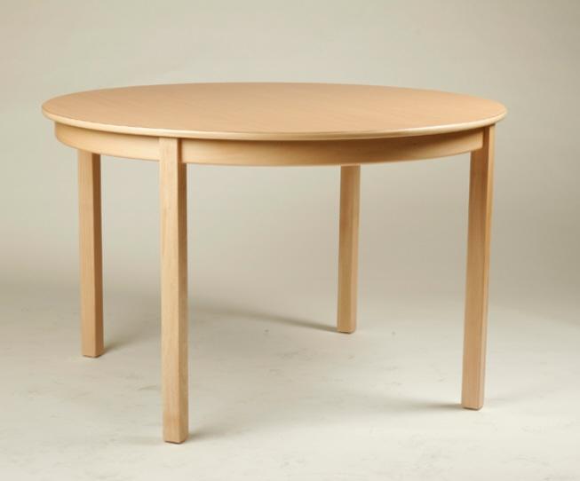 Rund-Tisch Ø 80 cm, Tischplatte aus HPL Buche natur (Tischhöhe 42 - 76 cm)