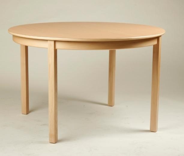 Rund-Tisch Ø 100 cm, Tischplatte aus HPL Buche natur (Tischhöhe 42 - 76 cm)