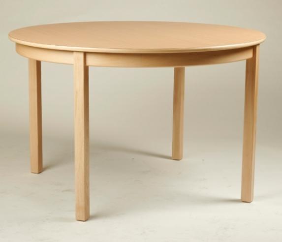 Rund-Tisch Ø 120 cm, Tischplatte aus HPL Buche natur (Tischhöhe 42 - 76 cm)