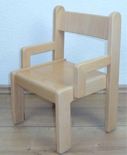 Stuhl TIM mit Armlehnen Typ 1, Buche massiv (Sitzhöhe 21-26 cm)