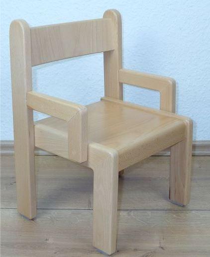 Stuhl SIMEON mit Armlehnen Typ 1, Buche massiv (Sitzhöhe 21-26 cm)