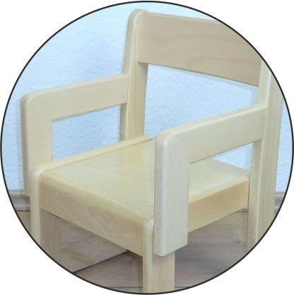 Stuhl TIM mit Armlehnen Typ 2, Buche massiv (Sitzhöhe 21-35 cm)