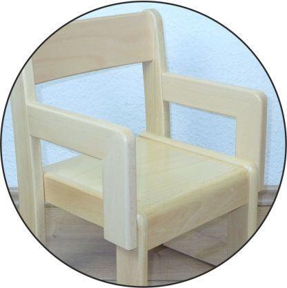 Stuhl SIMEON mit Armlehnen Typ 2, Buche massiv (Sitzhöhe 21-26 cm)