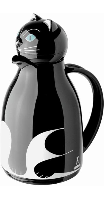"""Isolierkanne mit Motiv """"Katze schwarz"""", Glaseinsatz, 1,00 Liter"""
