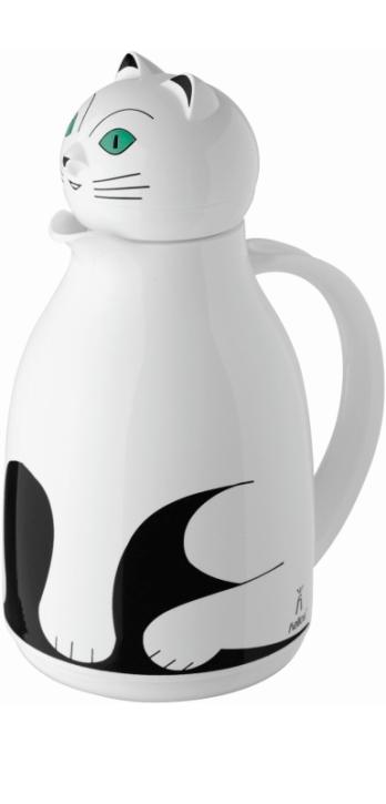 """Isolierkanne mit Motiv """"Katze weiß"""", Glaseinsatz, 1,00 Liter"""