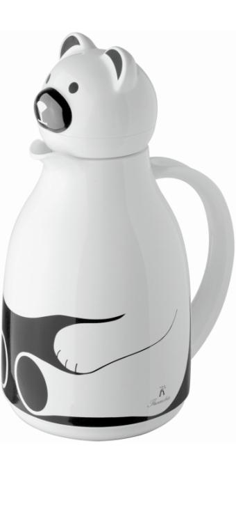 """Isolierkanne mit Motiv """"Bär weiß"""", Glaseinsatz, 1,00 Liter"""