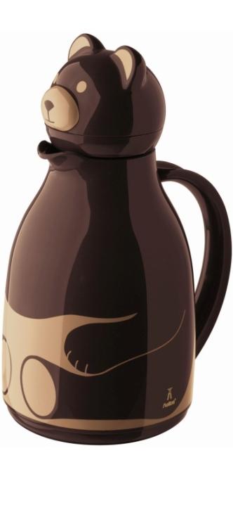 """Isolierkanne mit Motiv """"Bär braun"""", Glaseinsatz, 1,00 Liter"""