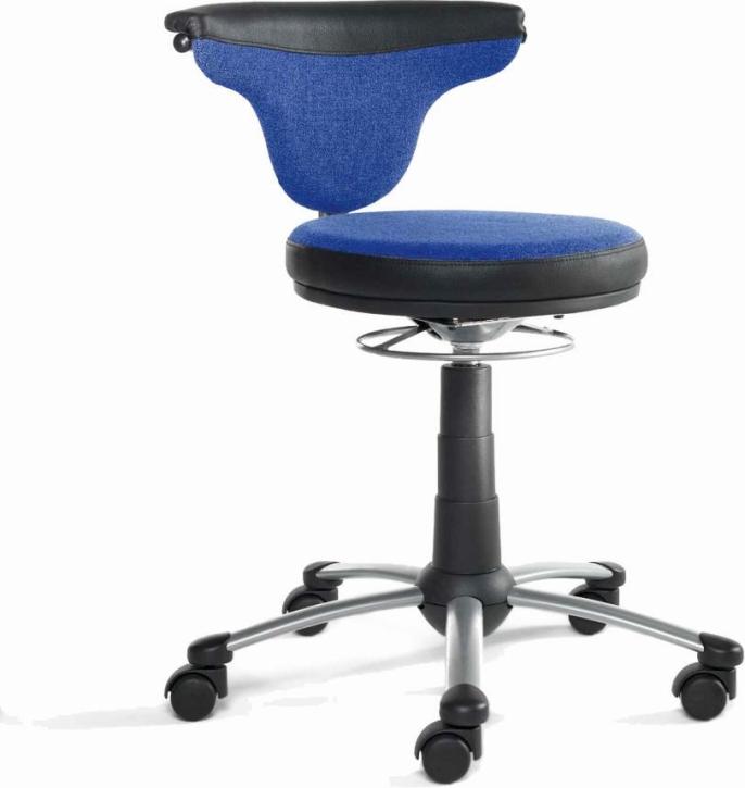 """Drehstuhl """"Torro-Sit"""", Hartboden-Rollen, 38-50 cm, 292 Stoff blau"""