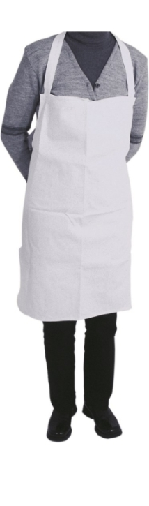 Kochschürze weiß, 80 x 70 cm, mit Latz, 100 % Baumwolle, 90° C Kochwäsche
