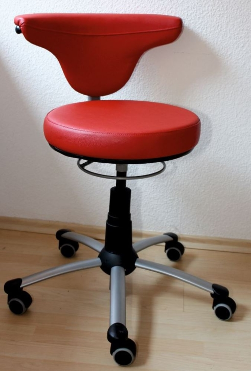 "Drehstuhl ""Torro-Sit"", Hartboden-Rollen, 38-50 cm, 461 Kunstleder rot"