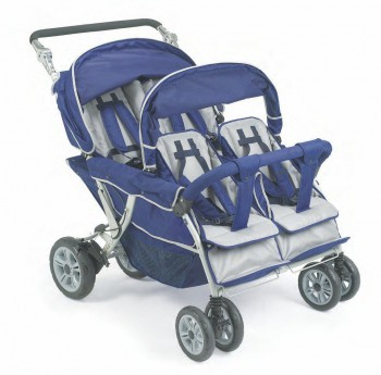 Krippenwagen 4-Sitzer blau, mit Hand- und Fußbremse