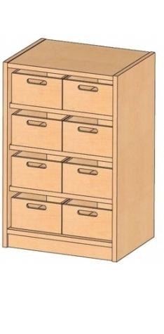Korpusschrank mit Materialkästen mit oder ohne Sichtfenster, B/H/T 52 x 80 x 40 cm