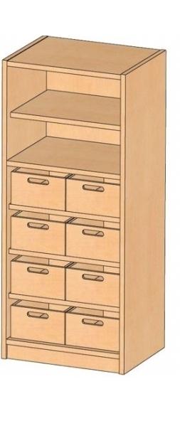 Korpusschrank mit Materialkästen mit oder ohne Sichtfenster, B/H/T 52 x 120 x 40 cm