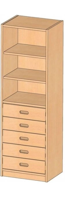Korpusscharnk mit Massivholzschüben, B/H/T 52 x 160 x 40 cm