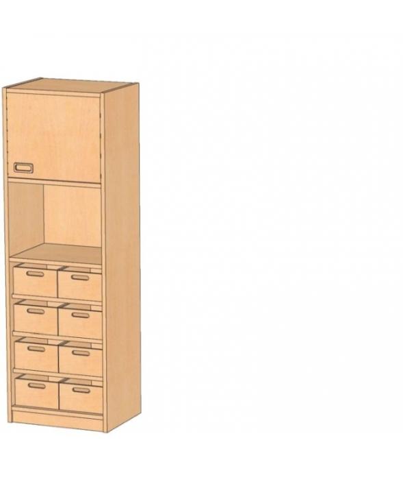 Korpusschrank mit Materialkästen mit oder ohne Sichtfenster, B/H/T 56 x 160 x 40 cm