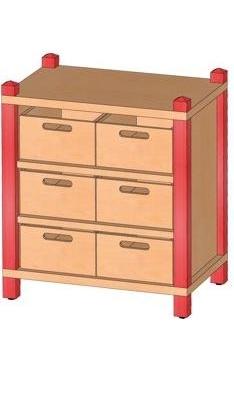 Stollenschrank mit Massivholzkästen, B/H/T 56 x 60 x 40 cm