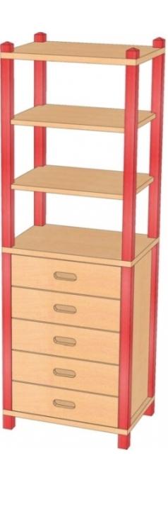 Stollenschrank mit Massivholzschüben, B/H/T 56 x 180 x 40 cm