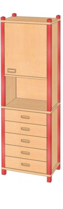 Stollenschrank mit Oberschrank, B/H/T 56 x 180 x 40 cm
