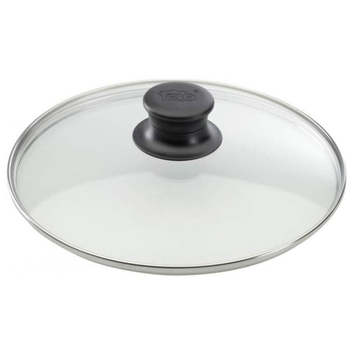 Universal-Glasdeckel mit Edelstahlrand, passend für alle abgebildeten Pfannen