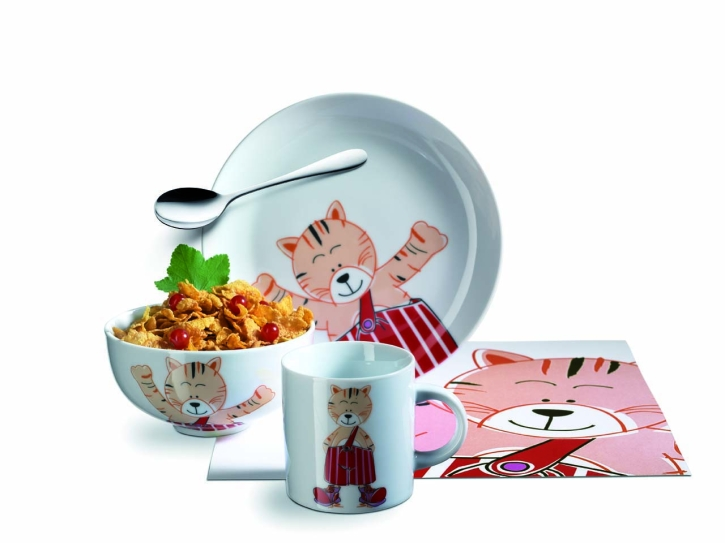 Abverkauf: Kinderset 5-tlg Porzellan, Motiv Tiger