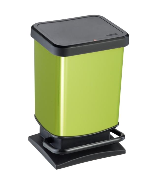Treteimer GRÜN, Metallic-Look, 20 Liter, 29,3 x 26,6 x H 45,7 cm
