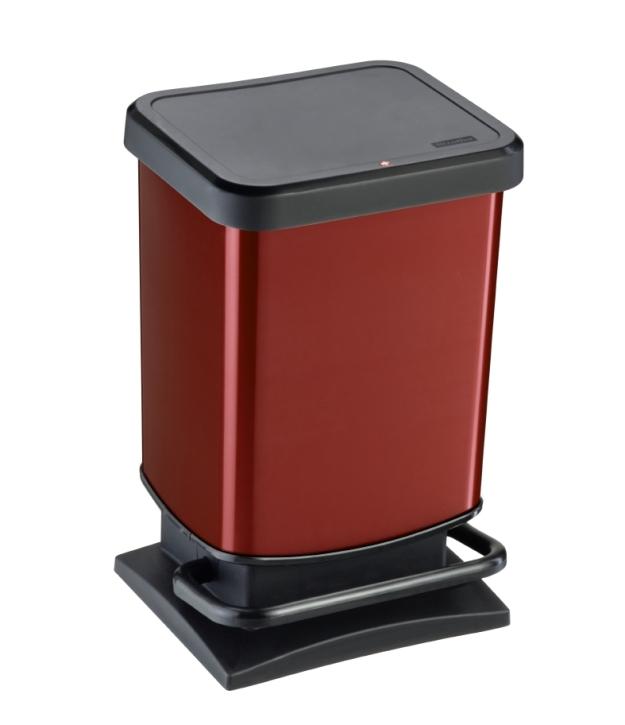 Treteimer ROT, Metallic-Look, 20 Liter, 29,3 x 26,6 x H 45,7 cm