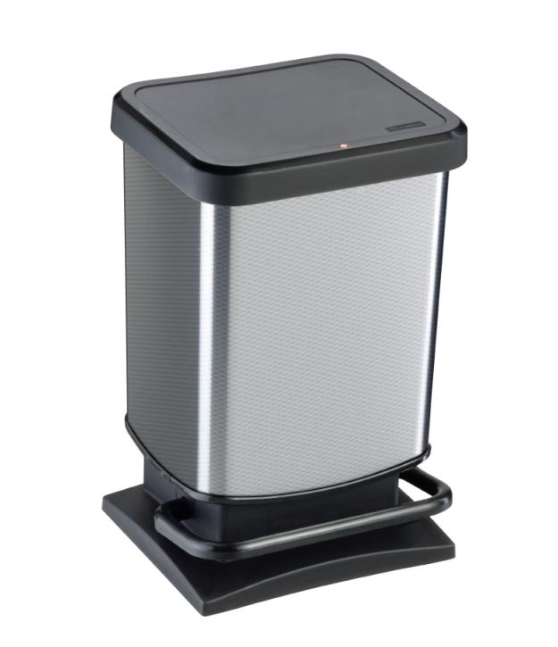 Treteimer SILBER, Metallic-Look, 20 Liter, 29,3 x 26,6 x H 45,7 cm