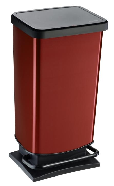 Treteimer ROT, Metallic-Look, 40 Liter, 35,3 x 29,5 x H 67,6 cm